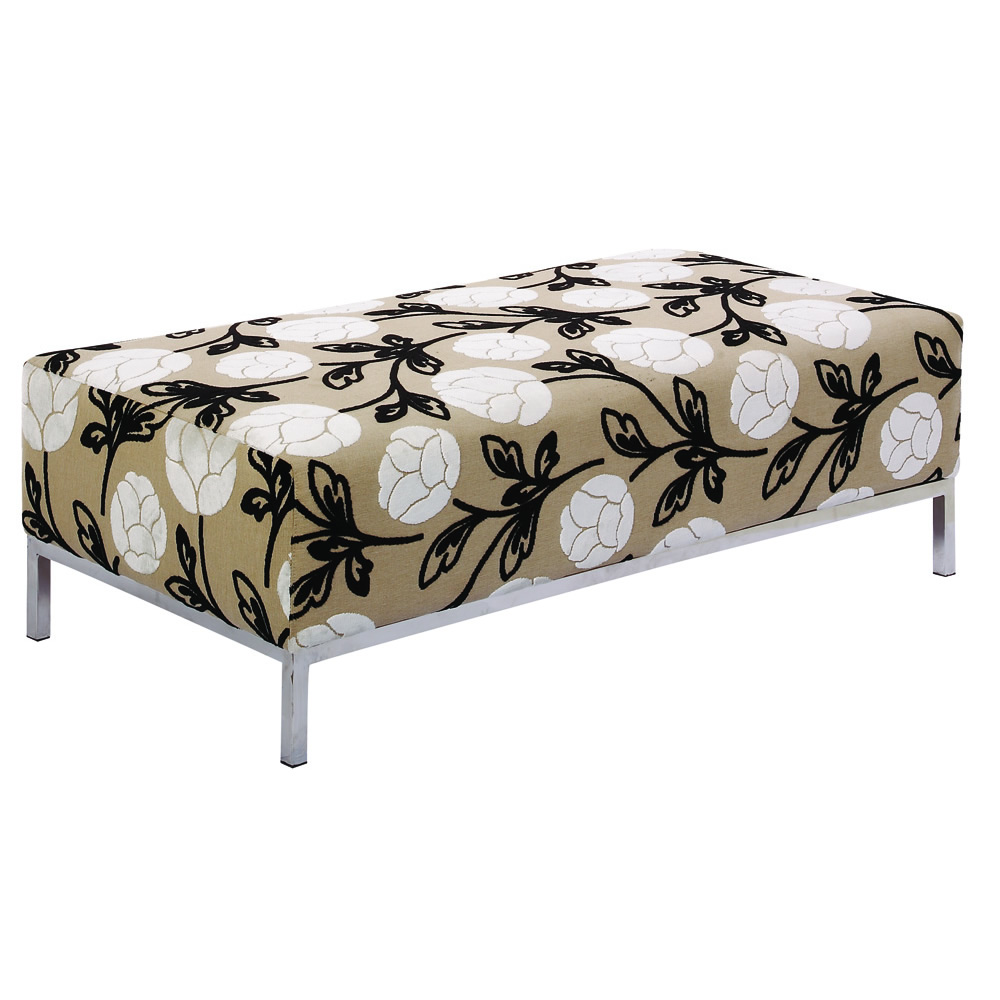 The Contemporary Ottoman from Leisure Lounge, in a Neutral Floral Print for Spring