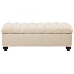 Deep Buttoned Leisure Lounge Storage Ottoman in Cream