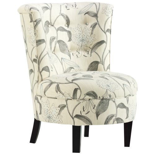 Leisure Lounge's occasional boudoir chair with understated botanical print.