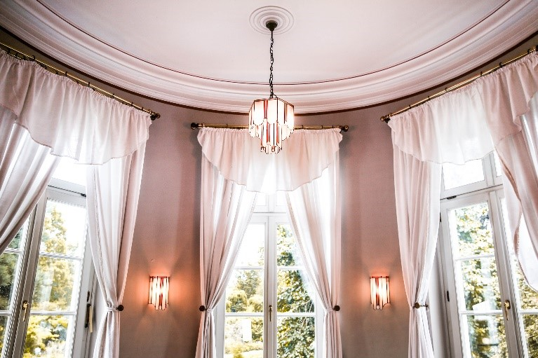 High Hung White Curtains in Living Room