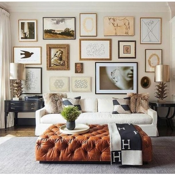 A Gallery Wall of Pictures in a Living Room