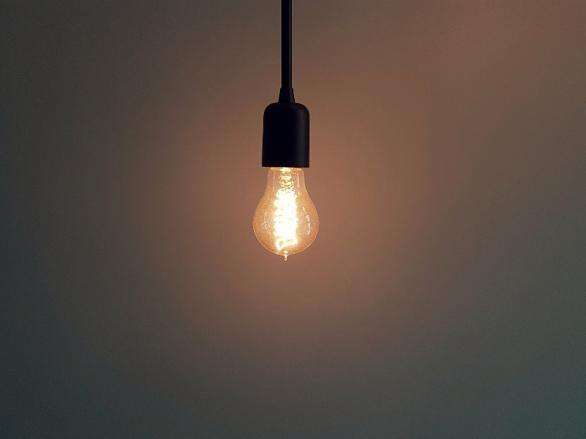 Edison Lightbulb Hanging from Ceiling