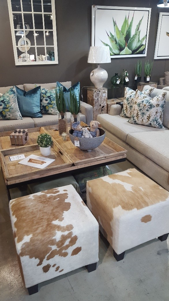 Nguni Ottomans in a Lounge