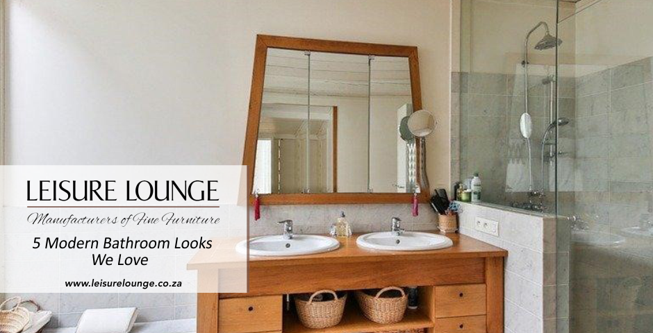 White and grey bathroom with basin dresser made of natural materials