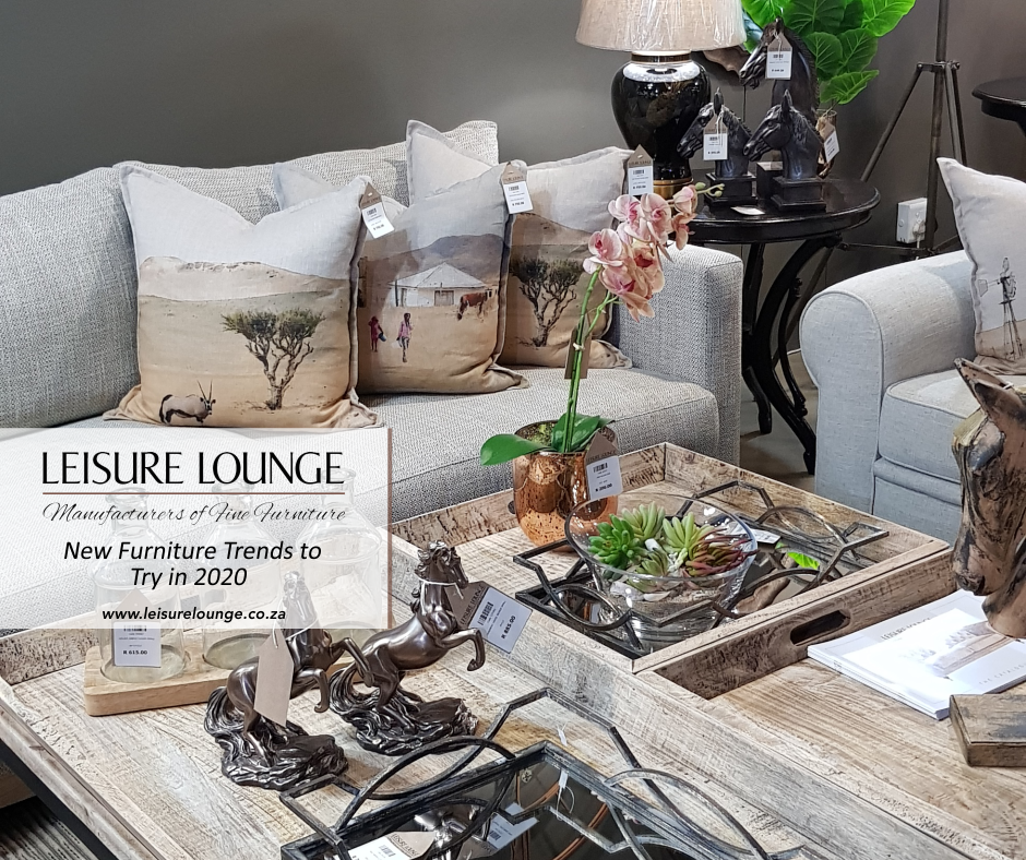 Leisure Lounge furniture arranged with a grey couch and coffee table