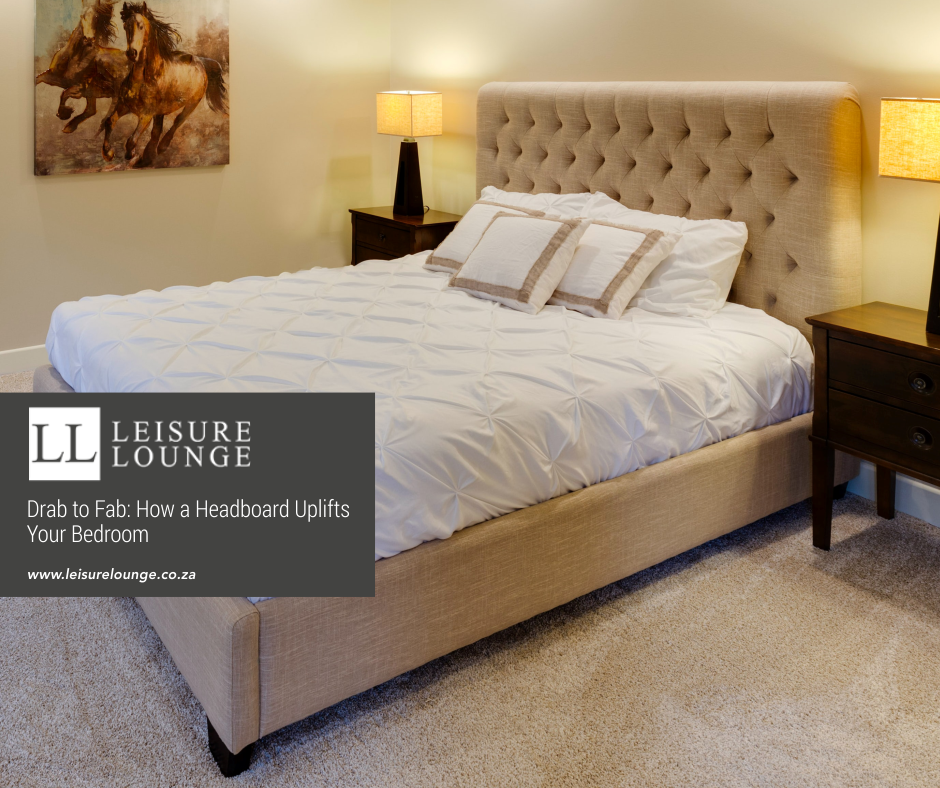 Bed with deep-buttoned headboard